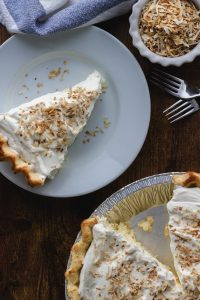 Keto Coconut Cream Pie with toasted shredded coconut