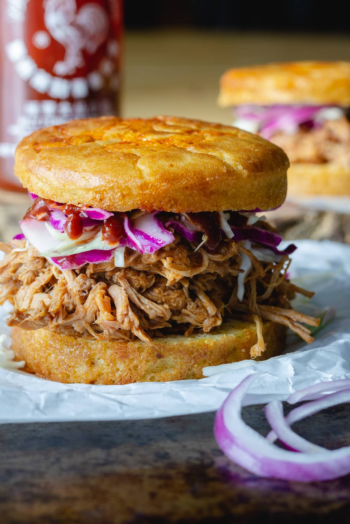 Maple Sriracha Pulled Pork Sandwich