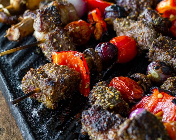Hero Shot of Steak kebabs