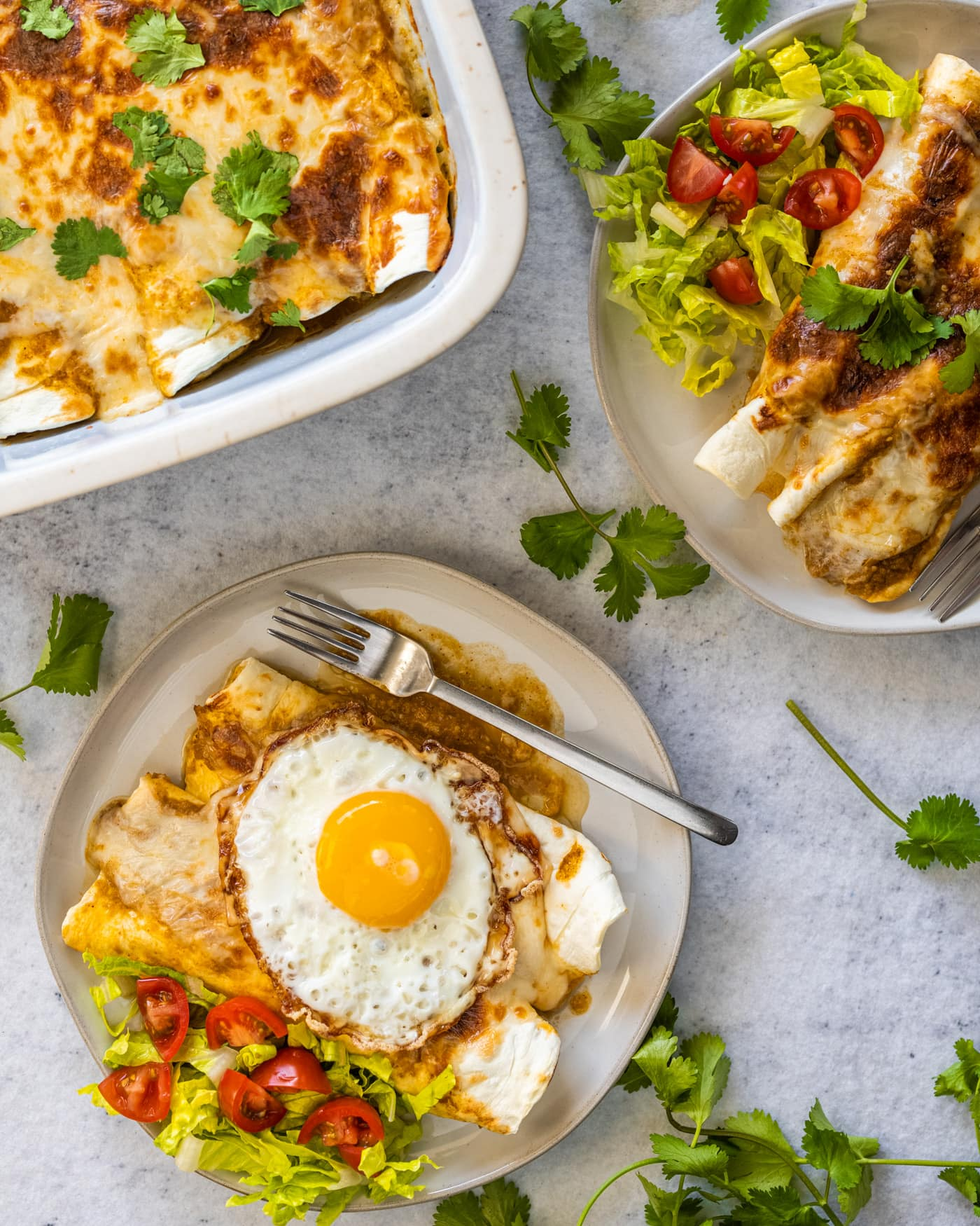 keto green chile chicken enchiladas with a fried egg